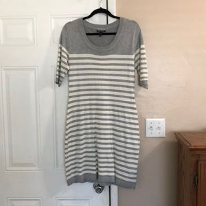 Sweater Dress Grey and White Stripes
